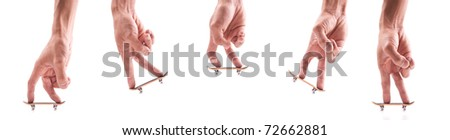 Motion Segments of a Finger Doing a Basic Ollie on Fingerboard - stock photo