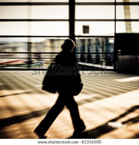 motion traveler of shanghai airport. - stock photo