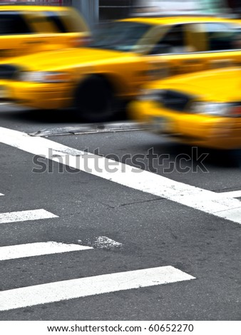 Motion Yellow Cabs in Manhattan - stock photo