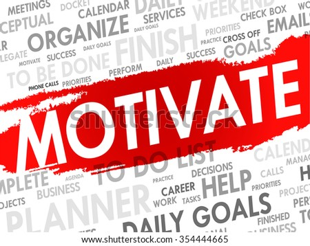 MOTIVATE word cloud, business concept background - stock photo