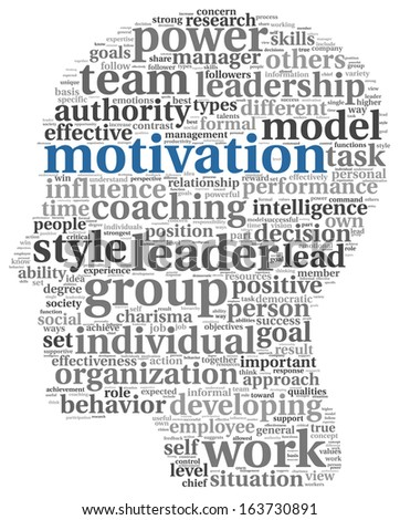 Motivation concept in word tag cloud on white background - stock photo