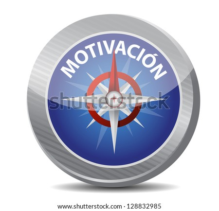 motivation Glossy Compass in Spanish illustration design over white