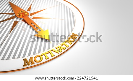 Motivation - Golden Compass Needle on a White Field Pointing. - stock photo