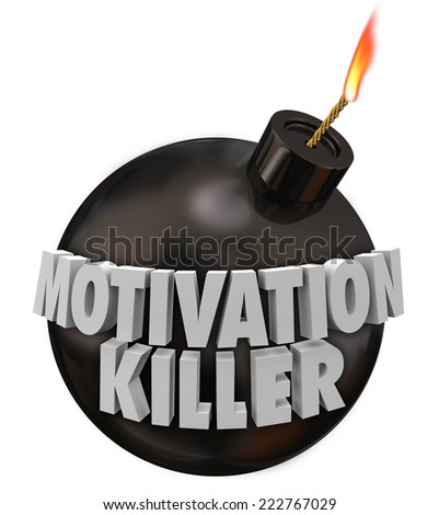 Motivation Killer 3d words on a round black bomb to illustrate discouragement and bad morale - stock photo