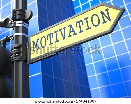 Motivation on Yellow Roadsign on a blue urban background. - stock photo