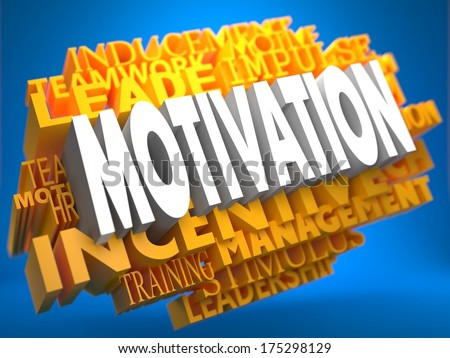 Motivation on Yellow WordCloud on Blue Background. - stock photo