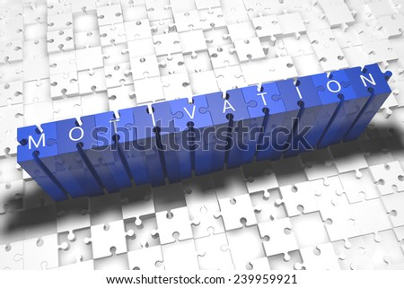 Motivation - puzzle 3d render illustration with block letters on blue jigsaw pieces  - stock photo