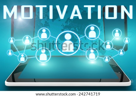 Motivation - text illustration with social icons and tablet computer and mobile cellphones on cyan digital world map background - stock photo
