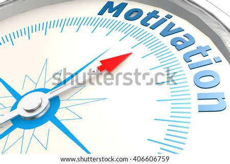 Motivation word on isolated compass image, 3d rendering - stock photo