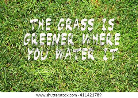 Motivation words the Grass is greener where you water it. Inspirational quotation. Perception, Care, Self development, ,Change, Life, Happiness concept. - stock photo