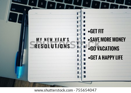 Motivational Inspirational Idea My New Resolutions Stock Photo ...