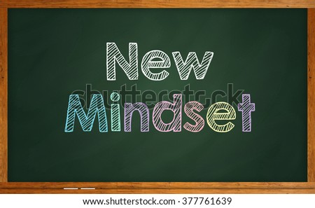 "Motivational quote ""New Mindset"" written on chalkboard - stock photo"
