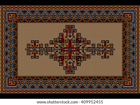 Motley luxury vintage carpet with ethnic ornament on a beige field  - stock photo