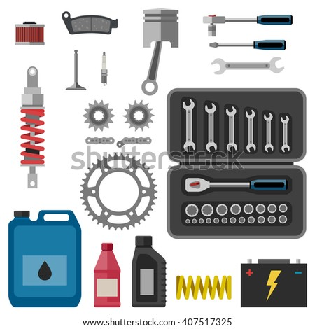 Moto parts with tools in flat style. Raster version. - stock photo