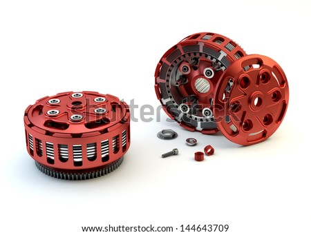 Motobike Clutch parts disassembled isolated on white background - stock photo