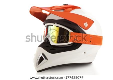 Motocross bike helmet - stock photo