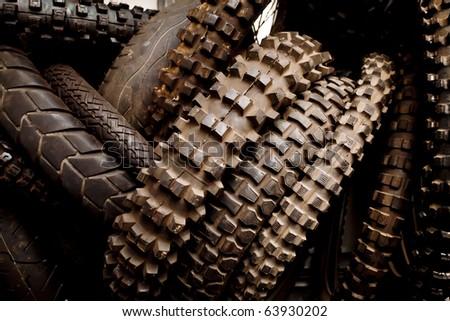 motocross bike tires - stock photo