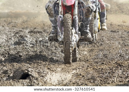 motocross enduro bike in dirt track on trip. - stock photo