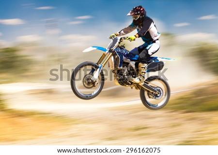 Motocross, Motorcycle, Cycling. - stock photo
