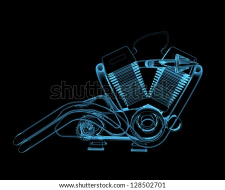 Motocycle engine (3D x-ray blue transparent isolated on black) - stock photo