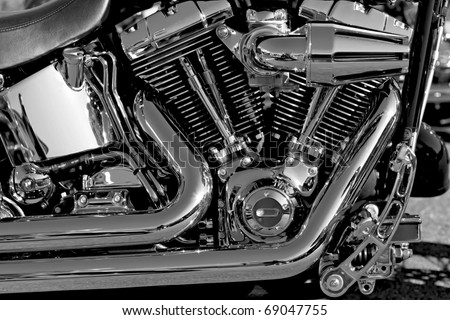Motor bike detail - Engine block - stock photo