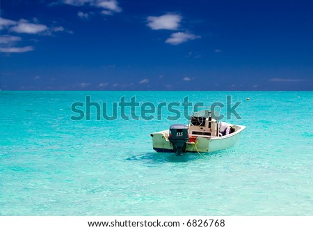 Motor Boat on Azure Seas - stock photo