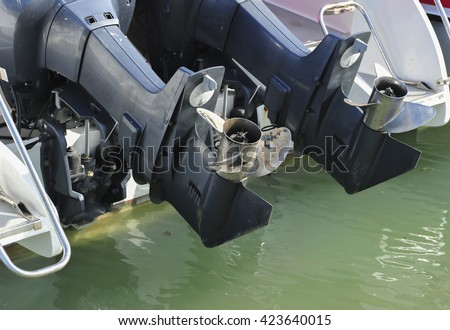 motor boat screws. - stock photo