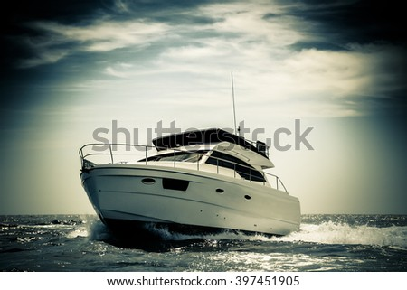 Motor Boat with color filter - stock photo