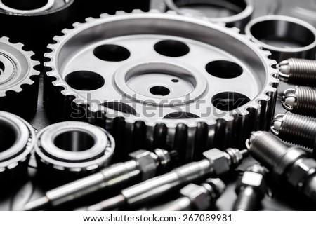 Motor. Car engine closeup, focus on pulley - stock photo