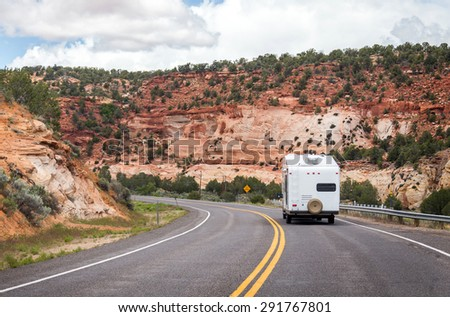 Motor home on the road in Monument Valley, Utah, USA - stock photo