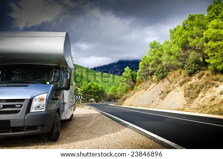 Motor Home On The Road. Pyrenees. Spain. - stock photo