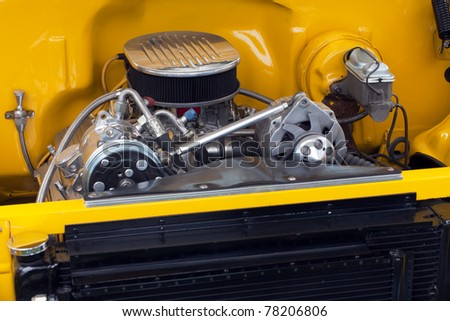 motor in a customized hot rod show car - stock photo