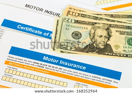 Motor or car insurance application with banknote