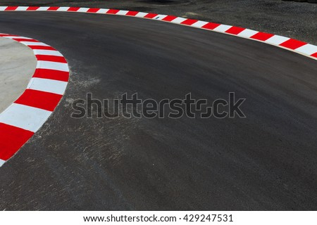Motor racing circuit Red and White - stock photo