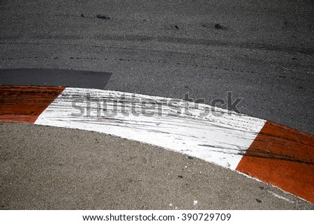 Motor racing circuit Red and White Kerb - stock photo
