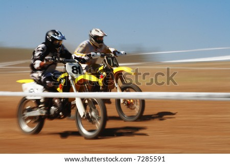 Motor Rally with 2 Bikers competing each other.