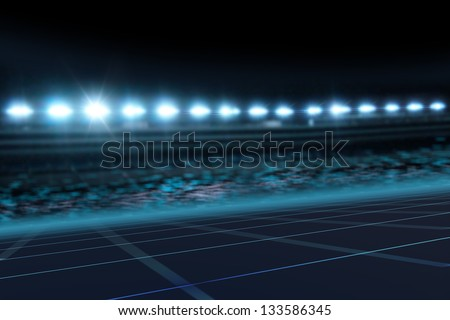 Motor Sport track at night 3D background