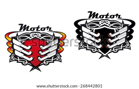 Motor sports icons incorporating silencers and exhaust pipes in red hot colours and in black and white