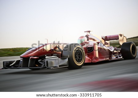 Motor sports race car side angled view speeding down a track with motion blur. Photo realistic 3d scene with room for text or copy space - stock photo