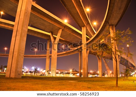 Motor way bridge at night - stock photo