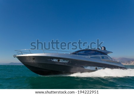 Motor yacht, rio yacht granturismo 56, fast yacht, italy - stock photo