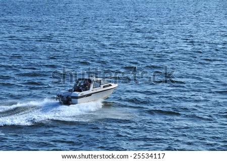 motor yacht sailing - stock photo