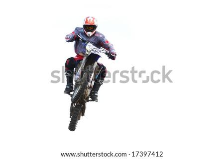 Motorbike airbone isolated on white background - stock photo