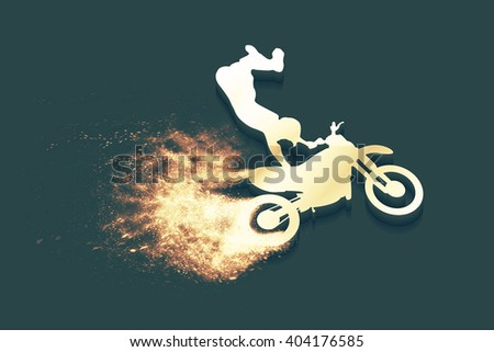 Motorbike and Bikers Man, illustration, image. Creative, luxury gradient color style image. Print label, banner, icon, book, cover, card, website, web, greeting, invitation. 3d street art design - stock photo
