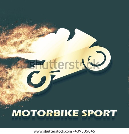Motorbike and Bikers Man illustration, image. Creative, luxury gradient color style image. Print label, banner, icon, book, cover, card, website, web, greeting, invitation.  Street art scratch design - stock photo