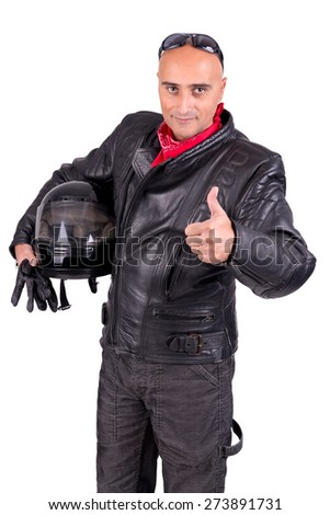 Motorbike rider against a white background - stock photo