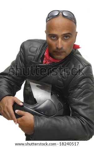 Motorbike rider isolated in white