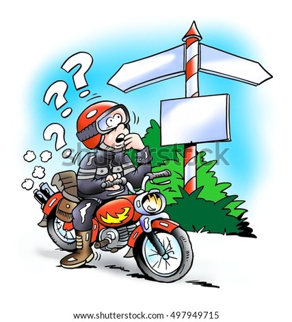 Motorbiker at a crossroads