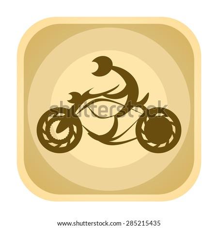 Motorbiker on speed motorcycle vintage icon  - stock photo