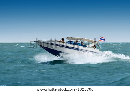 Motorboat in the sea - stock photo